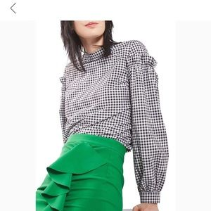 Topshop gingham ruffle sleeve blouse